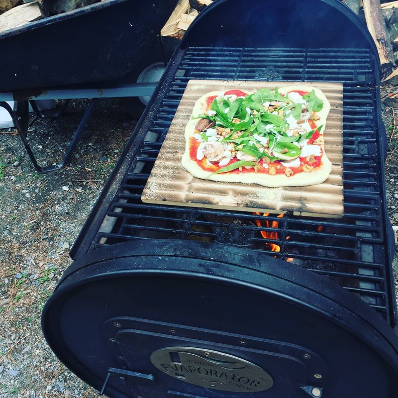 Wood Fired Veggie Pizza with Maple and Goat Cheese: