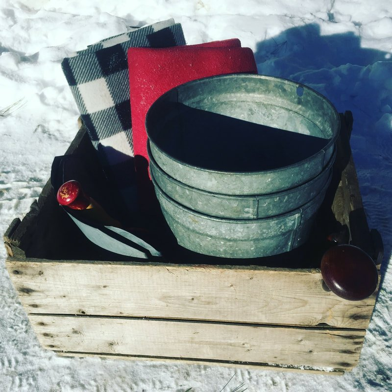 Old-fashioned lidded buckets
